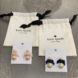 NEW 2 Kate Spade Pretty Pearly bow earrings pnk bl